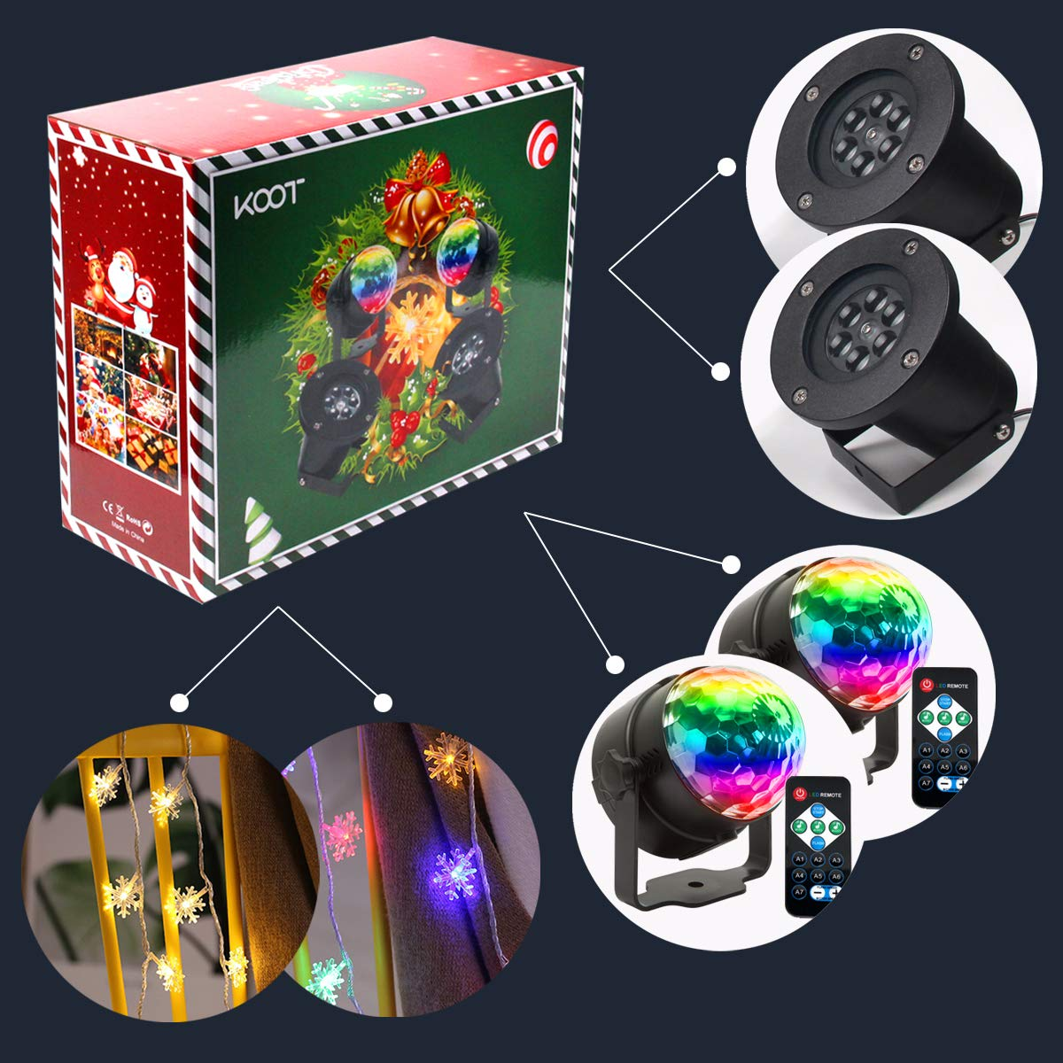 Christmas Light Projector Set Halloween Holiday Decorative Lights (2 Snowflake String Light +2 White Rotating Snowflake Projector +2 Disco Ball Light) for Dance Party Thanksgiving (6pcs) by KOOT