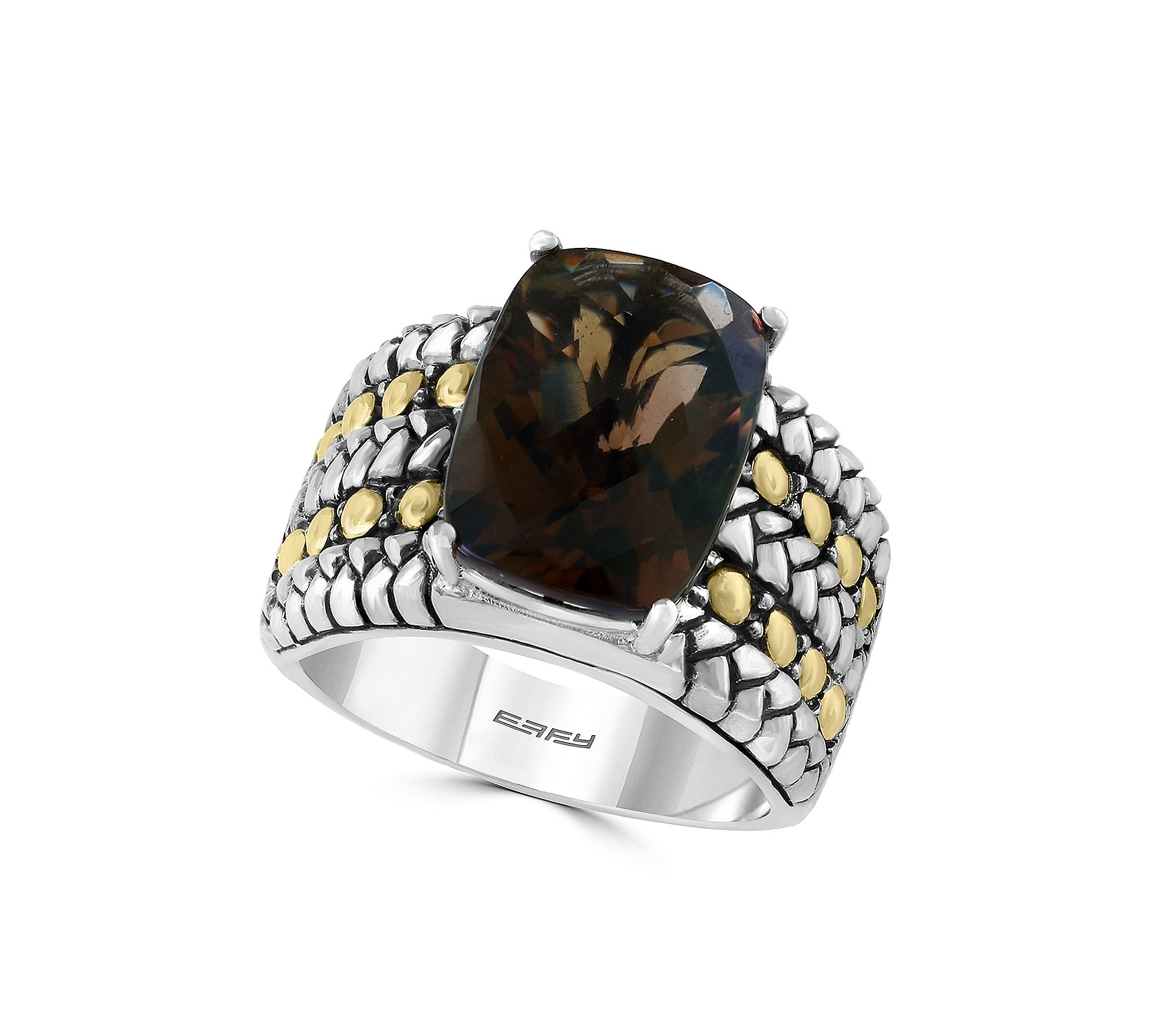Effy 925 Collection Smoky Quartz Sterling Silver Ring with 18K Yellow Gold Accents