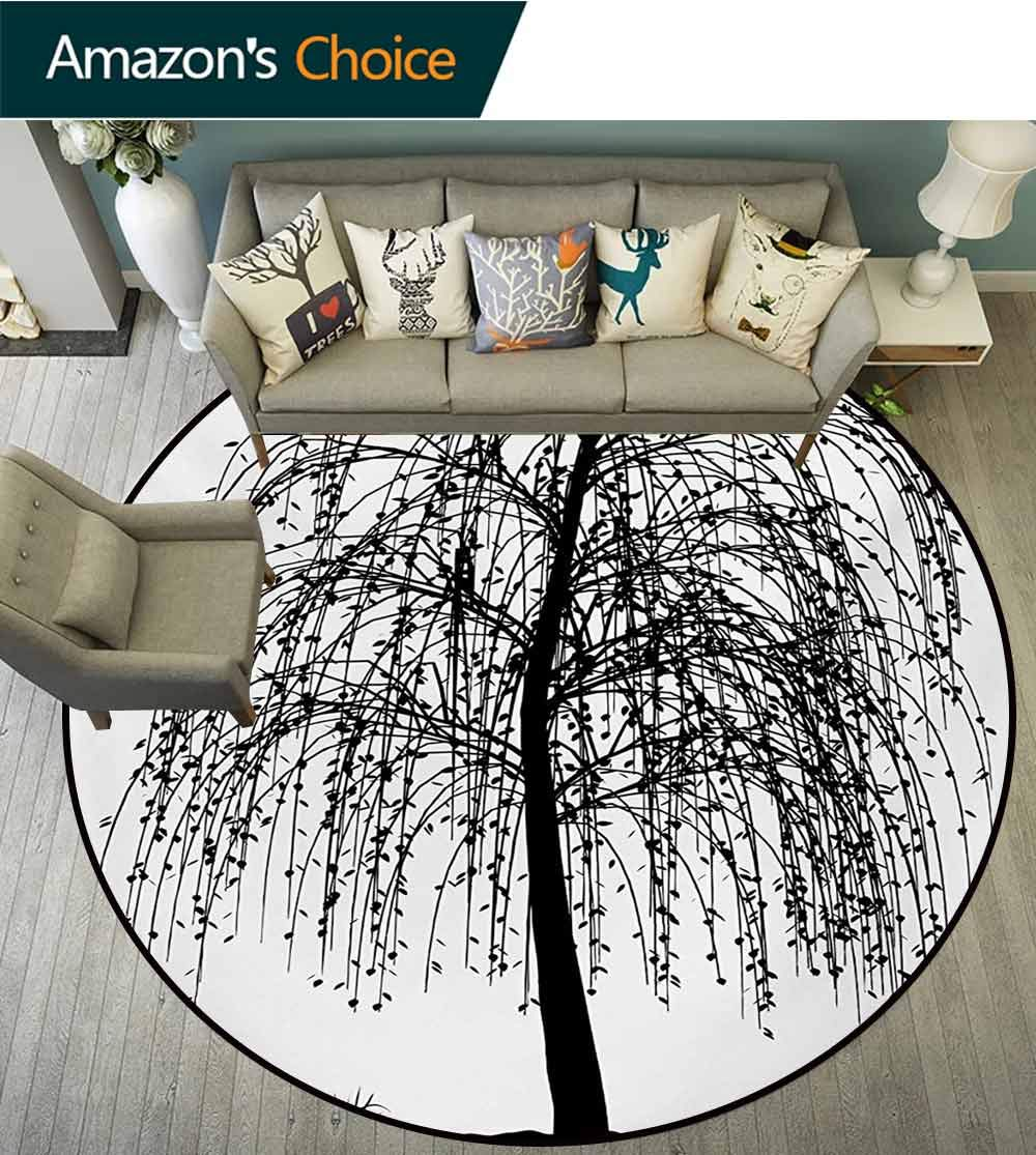 RUGSMAT Black and White Carpet Gray Round Area Rug,Monochrome Barren Tree Design Leafless Branches Autumn Themed Nature Image Pattern Floor Seat Pad Home Decorative Indoor,Diameter-71 Inch