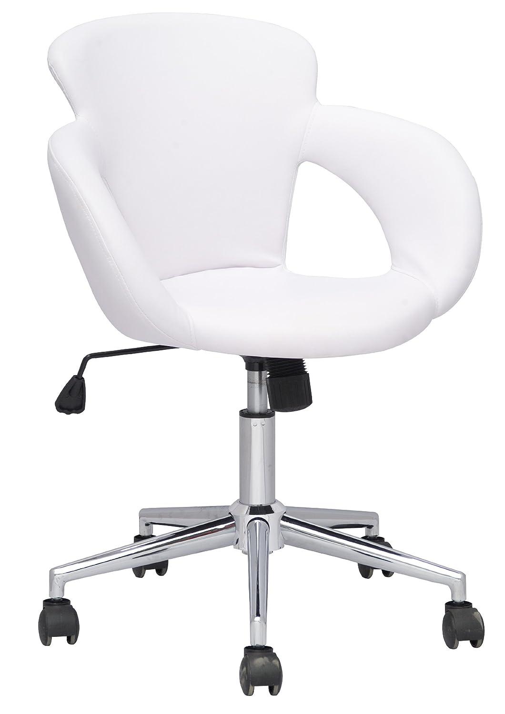 Drehstuhl weiß leder  SixBros. Design Rollhocker Arbeitshocker Hocker Bürostuhl Weiß M ...