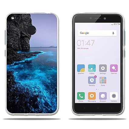 FUBAODA Funda Xiaomi Redmi 4X Carcasa Protectora de Silicona Lujoso Dibujo de Costa Fosforescente, Fundas Completamente Resistente para Xiaomi Redmi ...