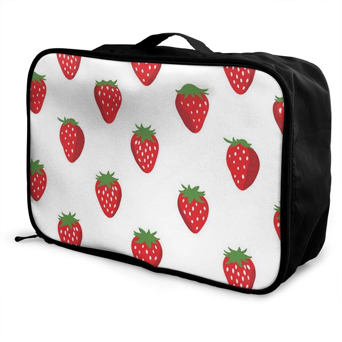 Lightweight Large Capacity Portable Luggage Bag Fresh Strawberry Travel Duffel Bag Backpack