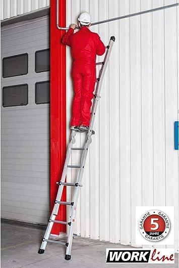 Euro Line aluminio Vario Escalera – Work 4 x 4 peldaños – Altura de la Escalera 1,95 m 100% aluminio, como escalera 4,05 metros, compacto transporte métrica: Amazon.es: Bricolaje y herramientas