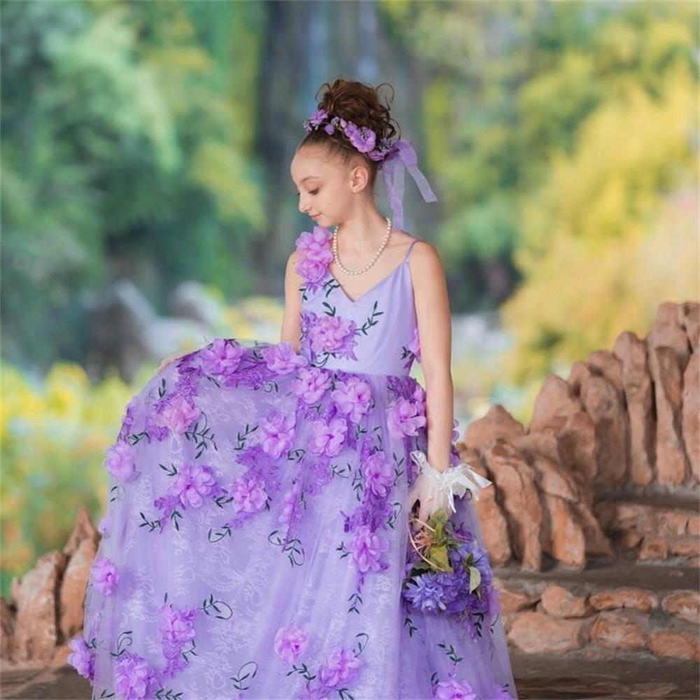 44c2a305a1 Amazon.com  Newdeve Girls Princess Gown 3D Flower Baby Toddler Flower Girls  Dress (2