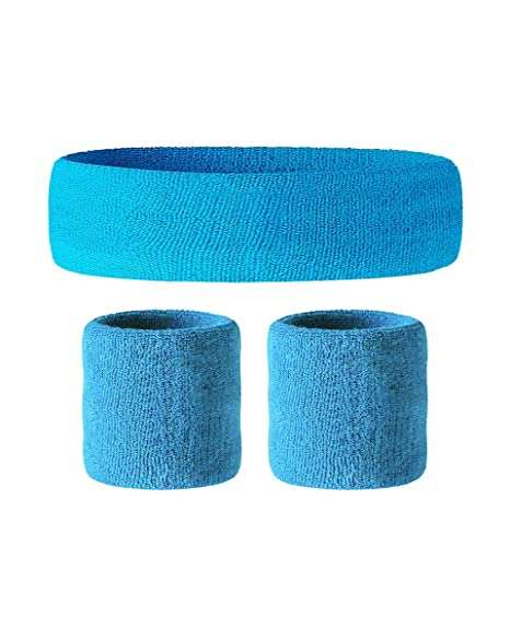 Awkward Styles Sweatband Set Yoga Wristband and Headband Perfect for Basketball Tennis Running Fitness - Retro Style Soft Cotton