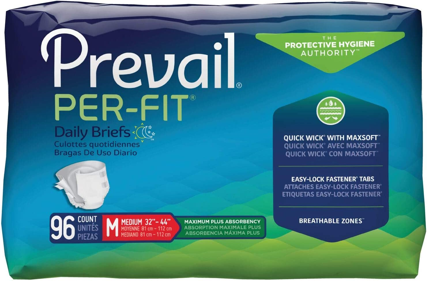 Prevail Per-Fit Protective Underwear, Maximum Plus Absorbency, Medium, 16 Count (Pack of 6 (96 Count))