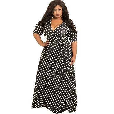 8e9ccc162a29c Lucky2Be Women's Plus Size Dress Loose Polka Dot Beach Bohemian Long ...