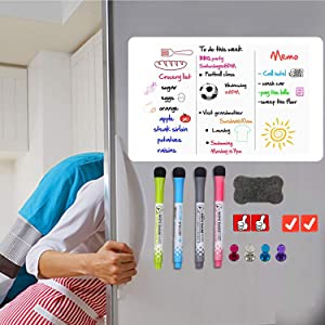 VKOPA Large Magnetic Dry Erase Whiteboard Sheet for Fridge with New Stain Resistant Technology Inlude 4 Marker 1 erasers -Dry Erase Board for Refrigerator, to Do List, Organizer 20x13 Inches
