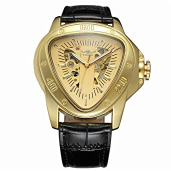 Luxury Men Automatic Self Wind Mechanical Wrist Watches Top Brand Triangle Golden Case Mens Watches Reloj