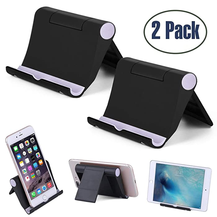 """Cell Phone Stand Multi-Angle,【2 Pack】 Tablet Stand Universal Smartphones for Holder Tablets(6-11""""), e-Reader, Compatible iPhone X/8/8 Plus/7/7 Plus, Galaxy S8/S7/Note 8, Air, Mini, Pixel 2(Black)"""