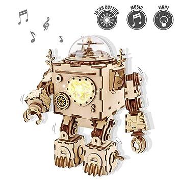 ROKR Musical de Madera Puzzle de Madera 3D Mechanical Model Construction Kit-Proyectos Divertidos para Adultos y Niños - Maqueta 3D de Funcionamiento ...