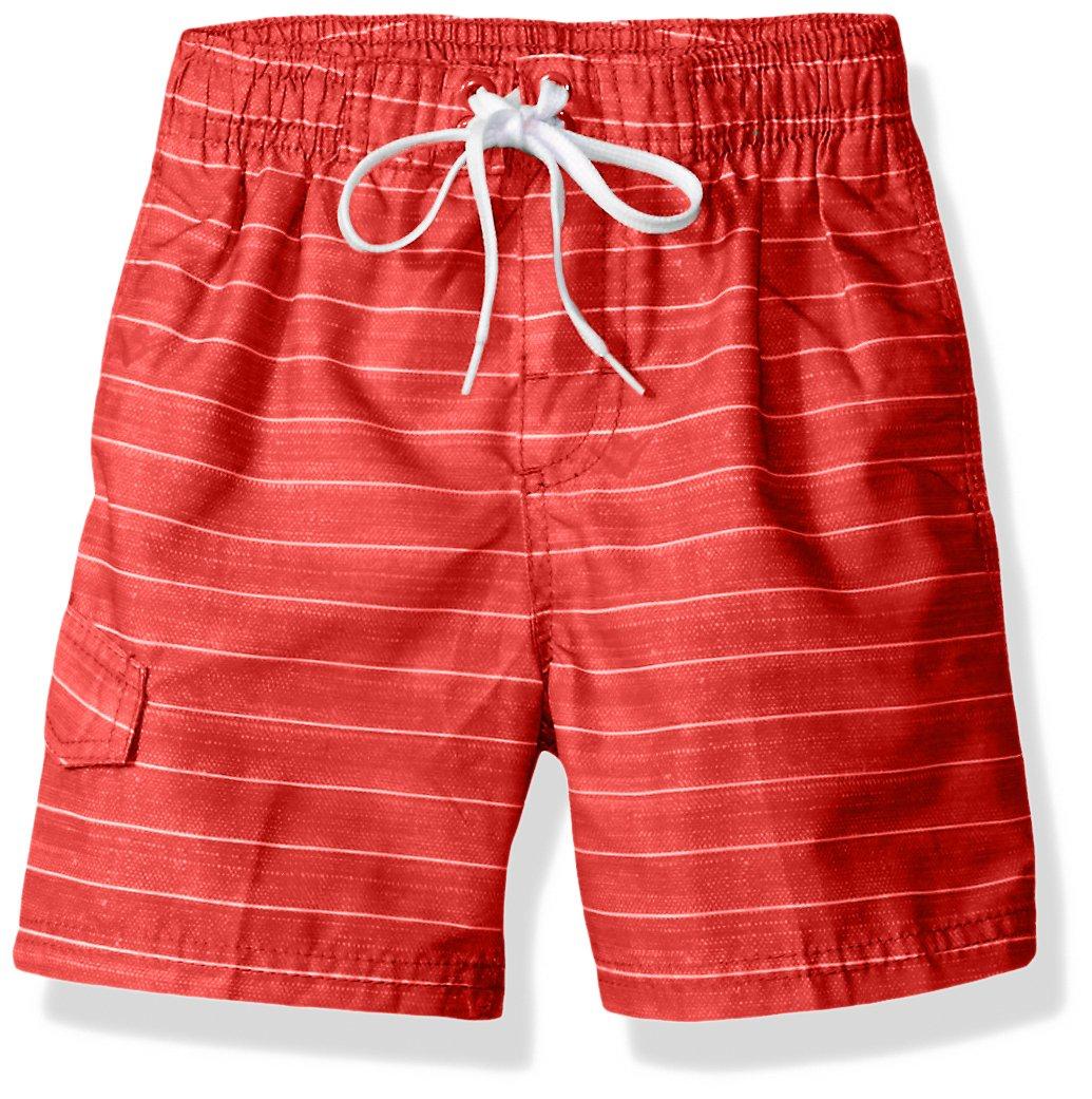 Kanu Surf Little Boys' Line up Stripe Quick Dry Beach Board Shorts Swim Trunk, Red, Medium (5/6)