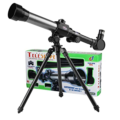 GGIENRUI Kids Telescope Educational Science Toy Telescope for Kids Beginners Astronomy Telescope with Tripod 20X 30X 40X Magnification Eyepieces: Camera & Photo