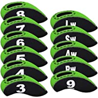 Big Teeth Golf Iron Head Covers 11Pcs Neoprene Golf Club Protector Flexible Transparent with Number Tag Multi Color