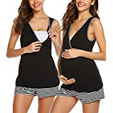 Women's Maternity Nursing Pajamas Shorts Set V-Neck Top+Stripe Shorts Sleepwear for Breastfeeding