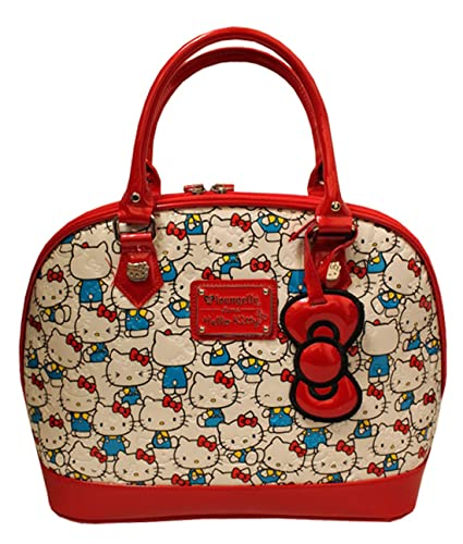c5c0ced7747a Amazon.com  Loungefly Hello Kitty Vintage Print Patent Embossed Tote Bag   Shoes