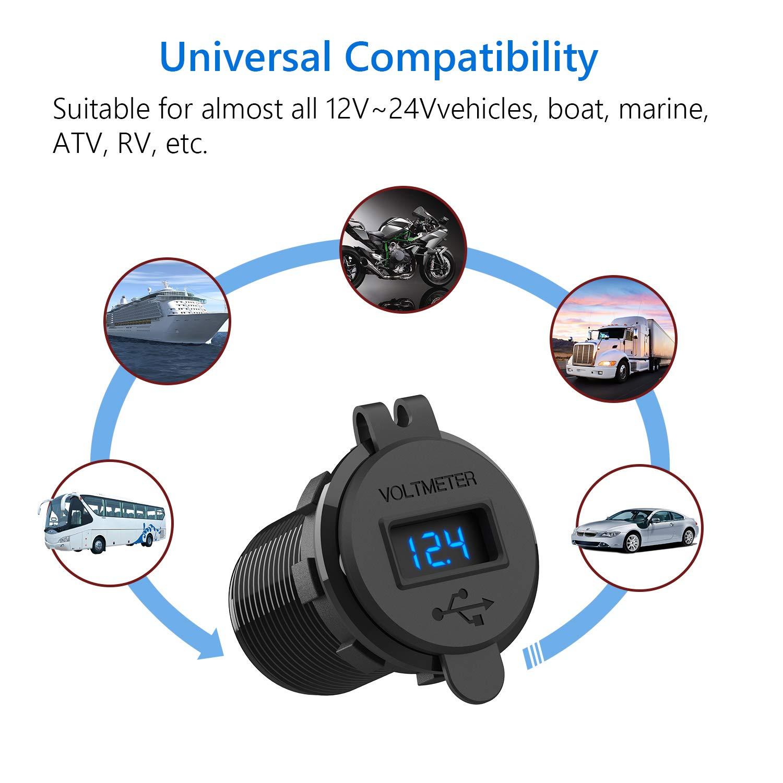 per Auto RV ATV Boat Marine Motorcycle Mobile 12V // 24v // 18W 2 Porte Caricabatteria USB 5V 4.2A Presa USB Impermeabile,LED Indicazione con Voltaggio per Moto SONRU QC3.0 USB Presa USB per Auto