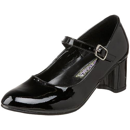 SCHOOLGIRL-50 - Zapatos con tacón para mujer, color Blanco (Wht Pat), talla 43.5 Funtasma