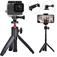 FIZZ OpticX Mini Tripod Table Top Stand with Phone Mount, Extendable Selfie Stick Stand with Handle, for Gopro Hero Osmo…