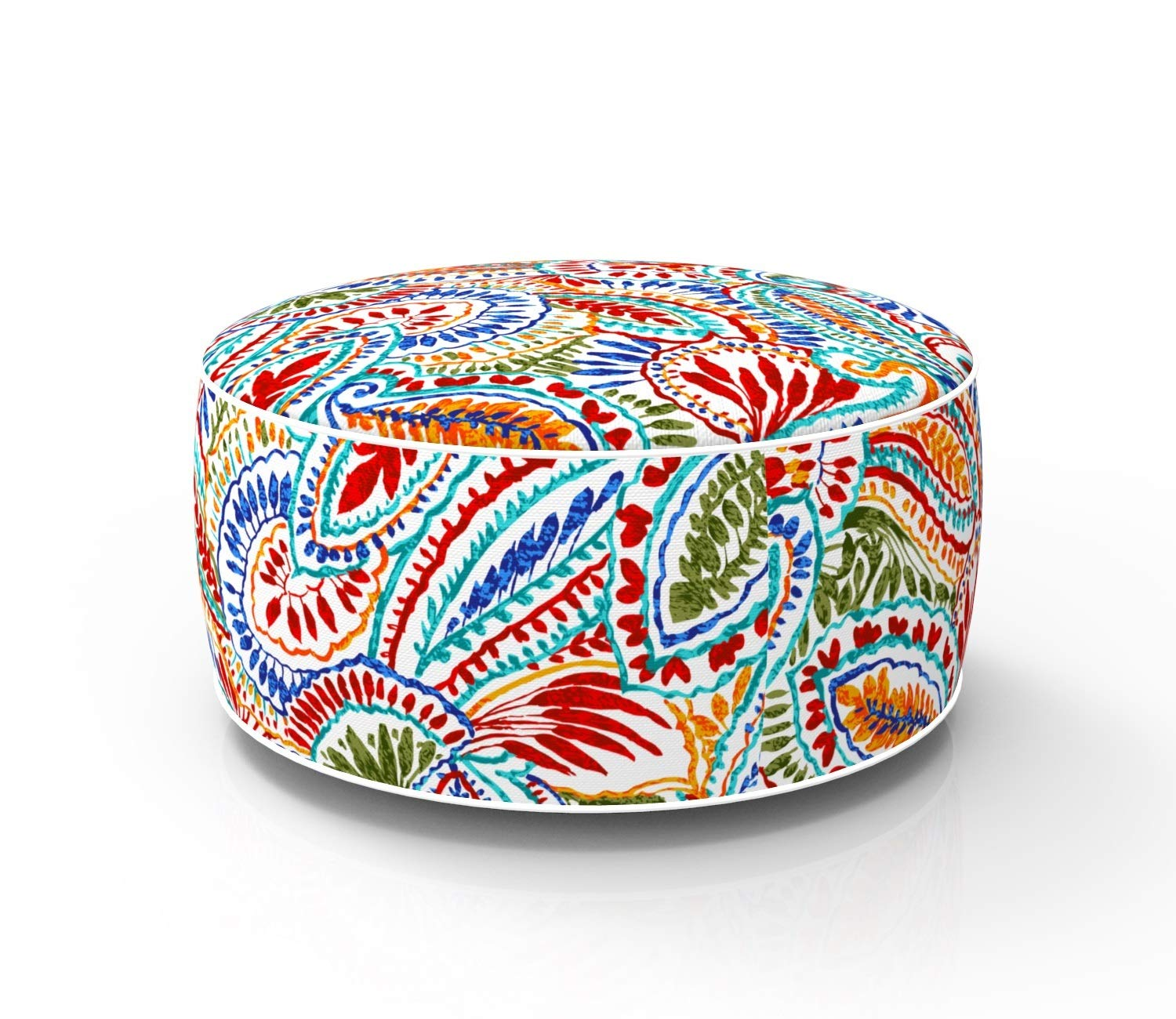 Fabritones Outdoor Inflatable Stool Paisley Round Ottoman Portable Foot Rest for Patio, Camping Home Yoga - Suitable for Kids and Adults