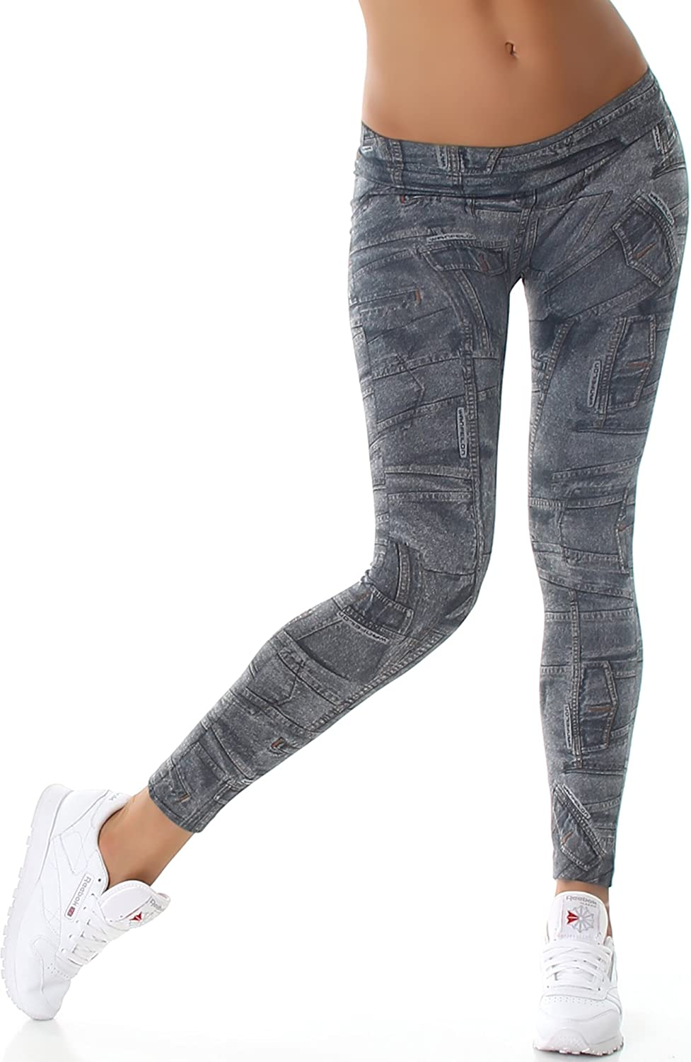 Kendindza Damen Thermo-Leggings Jeans-Look gef/üttert mit Innen-Fleece Basic Blickdicht