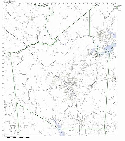 Amazon.com: Walker County, Texas TX ZIP Code Map Not ...