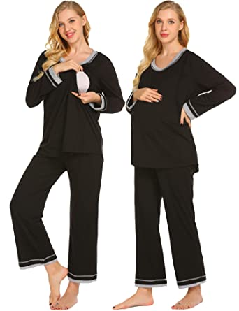 539956bb881e8 Ekouaer Maternity Nursing Pajamas Set Womens Soft Pregnancy PJs  Breastfeeding Hospital Sleepwear Set,Black,