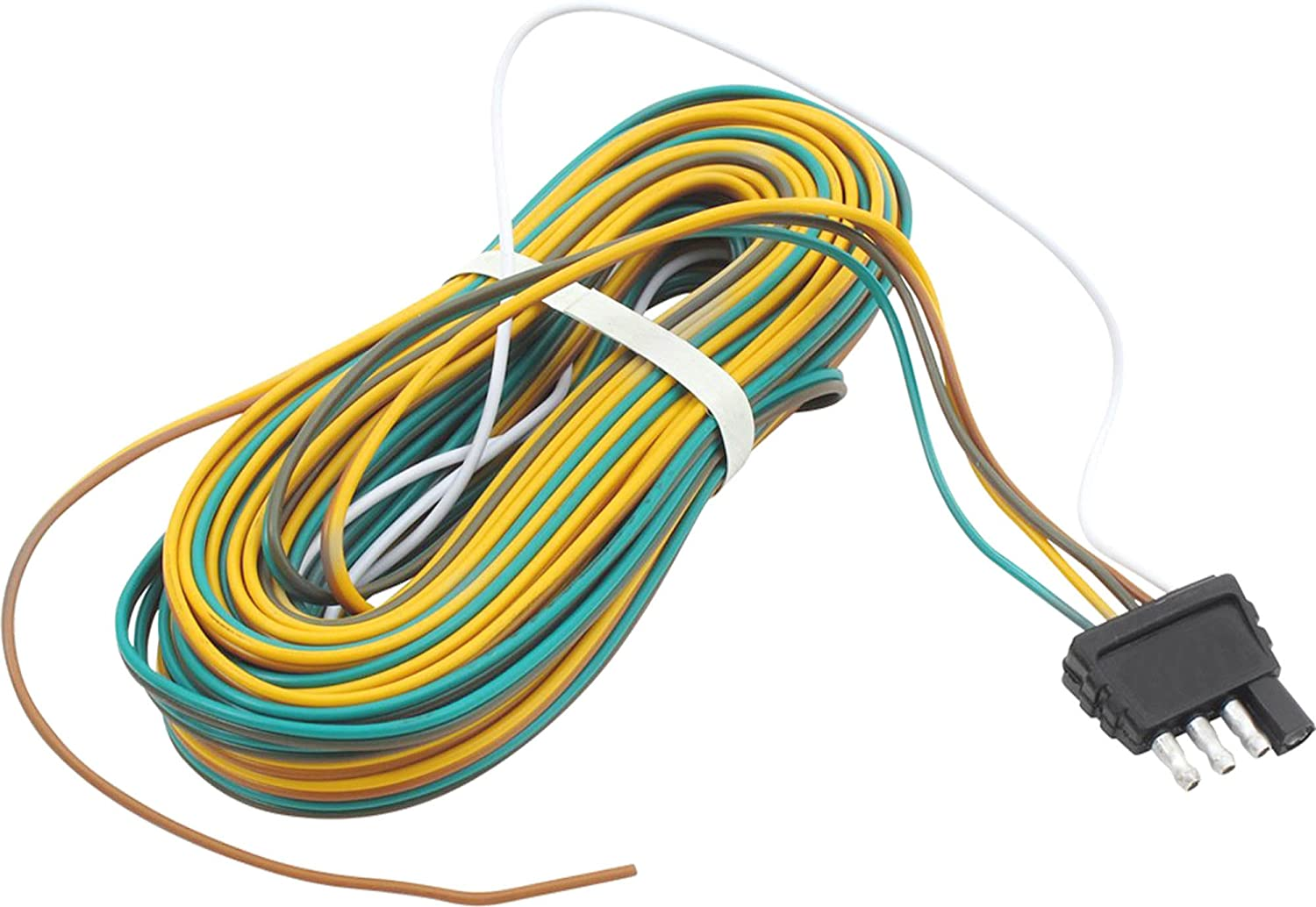 Trailer Wire Harness 25 Feet 4 Way Flat Plug Automotive Quick Disconnect