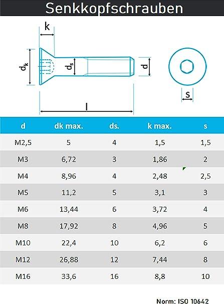 PROTECH Senkkopfschrauben mit Innensechskant DIN 7991 ISO 10642 ISK M5x12 50 St/ück Edelstahl A2 V2A Rostfrei Vollgewinde/Senkschrauben