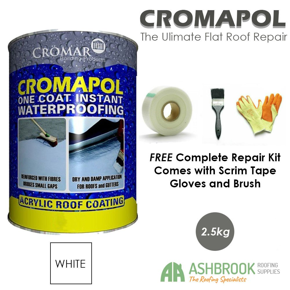 Cromapol | Acrylic Roof Coat | Waterproofing Roof Sealant | Three Sizes | Four Colours | FREE Complete Repair Kit | Grey 20 Kg Cromar