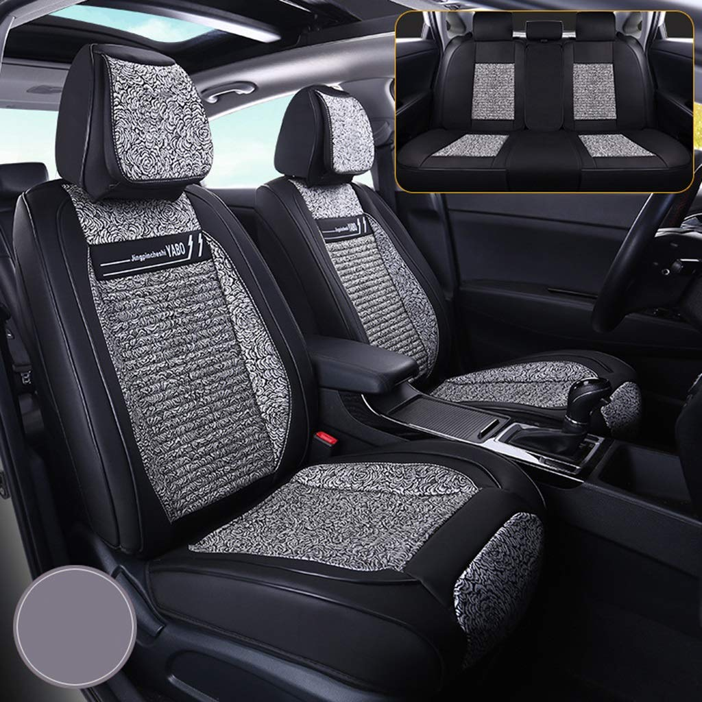 RUNWEI Car Seat Universal Seat Cushion, Linen Mat, All Surrounded, Four Seasons Universal (Color : Gray)
