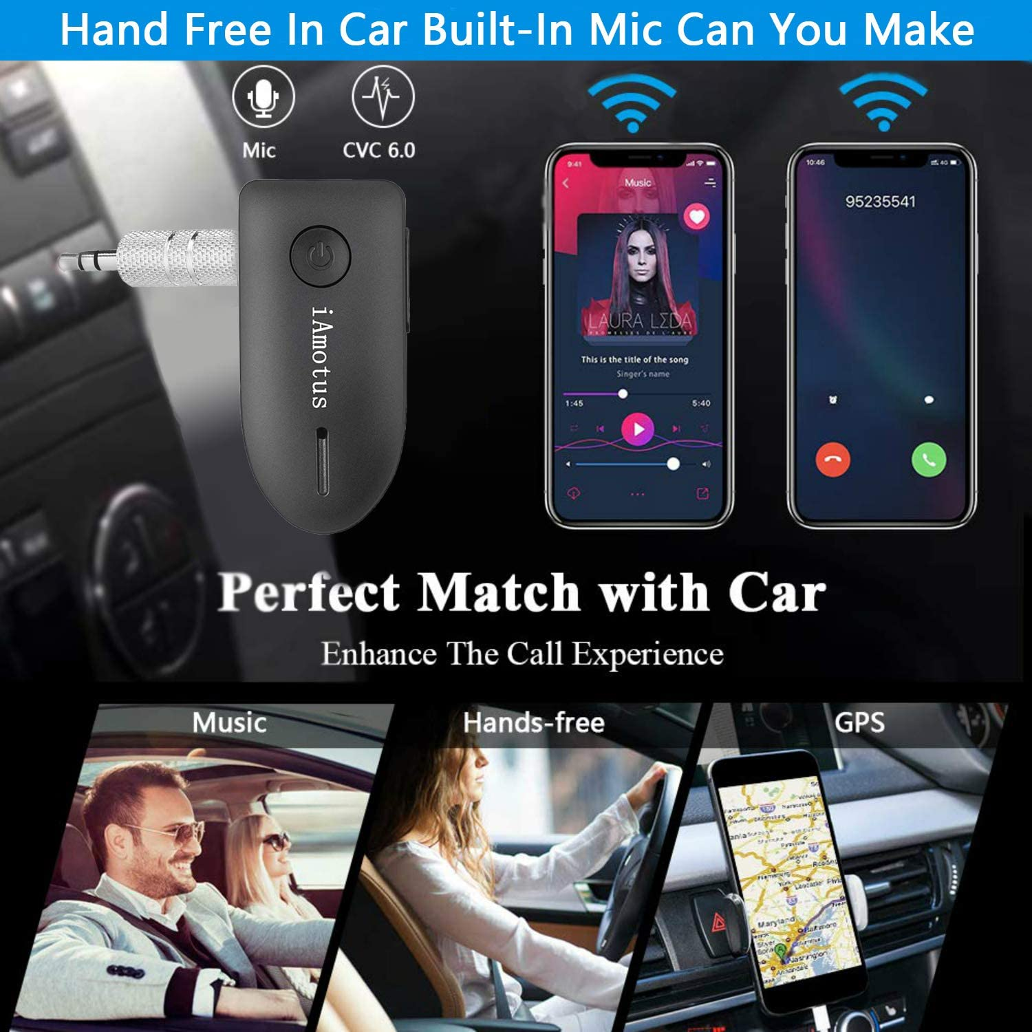 Portable Wireless Bluetooth Adapter /& Hands-Free Car Kits for Home and Car Sound Systems iAmotus Bluetooth 4.2 Audio Receiver A2DP//AVRCP, Built-in Microphone