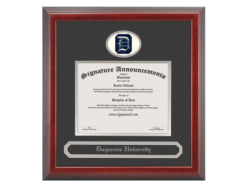 Signature Announcements Duquesne-University Undergraduate 16 x 16 Cherry Sculpted Foil Seal /& Name Graduation Diploma Frame