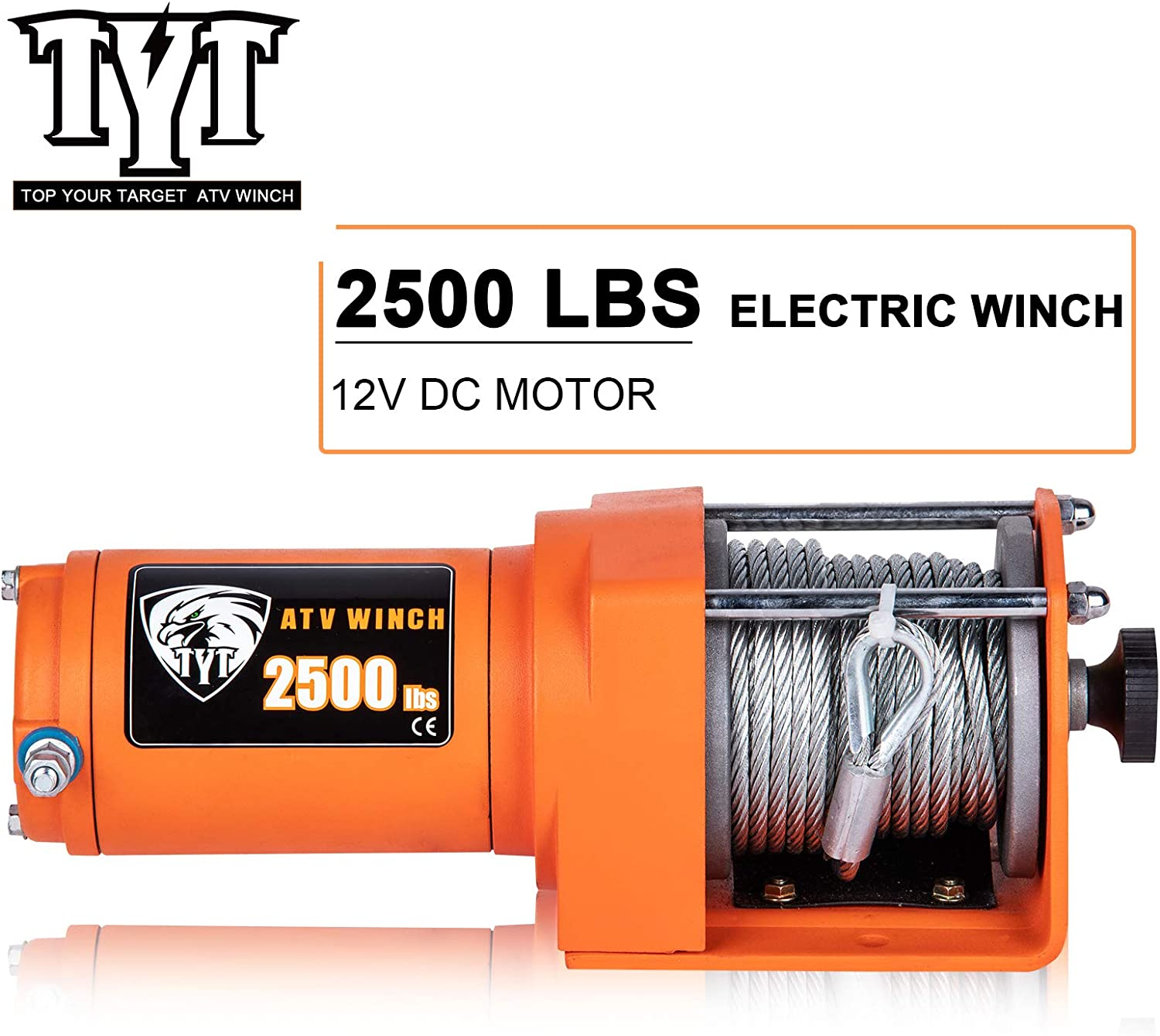 Advanced Load ATV//UTV Electric Winch Kits TYT 2500 lb 2500 lb Winch Waterproof IP67 Portable Winch for Towing Off Road Winch DC 12V Steel Cable Winch with Wired Handle and 2 Wireless Remotes