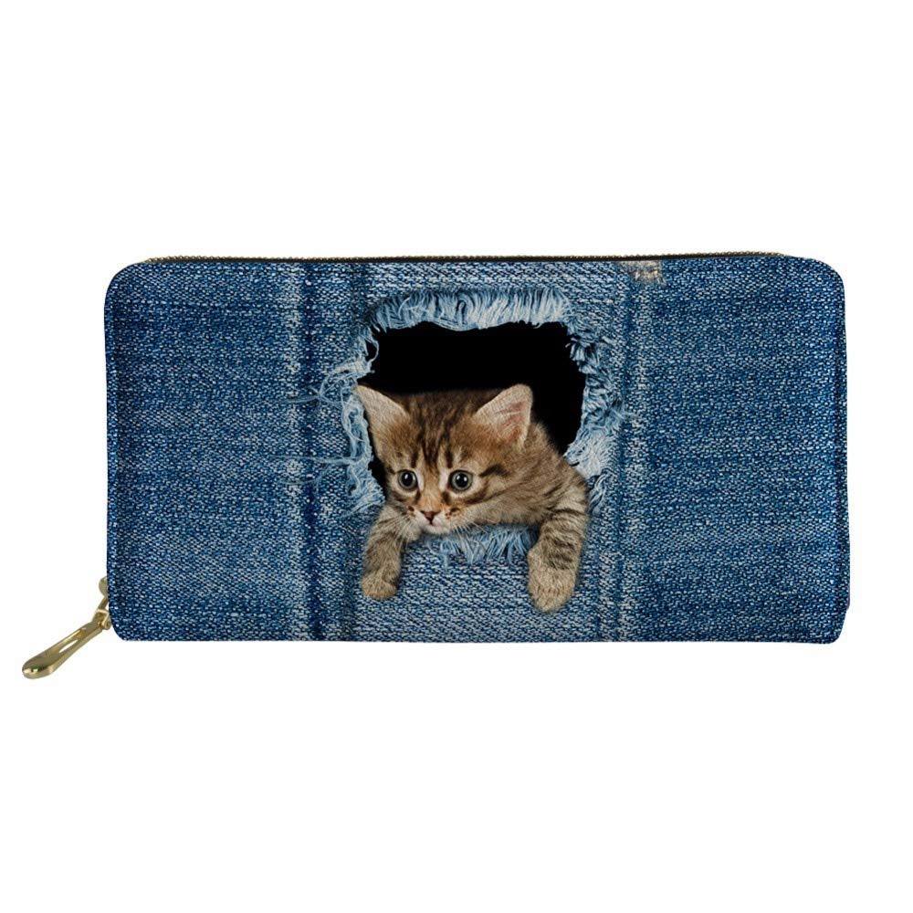 Amazon.com: Cartera portátil 3D vaqueros gato monedero ...