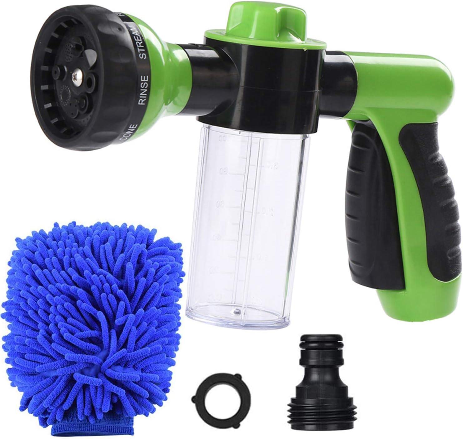 Kalgaden Garden Hose Nozzle Sprayer 8 Spray Patterns, Garden Foam Gun with 3.5oz/100cc Soap Dispenser Bottle, Washing Mitt, Snow Foam Lance Sprayer Nozzle for Car Washing, Plant Watering
