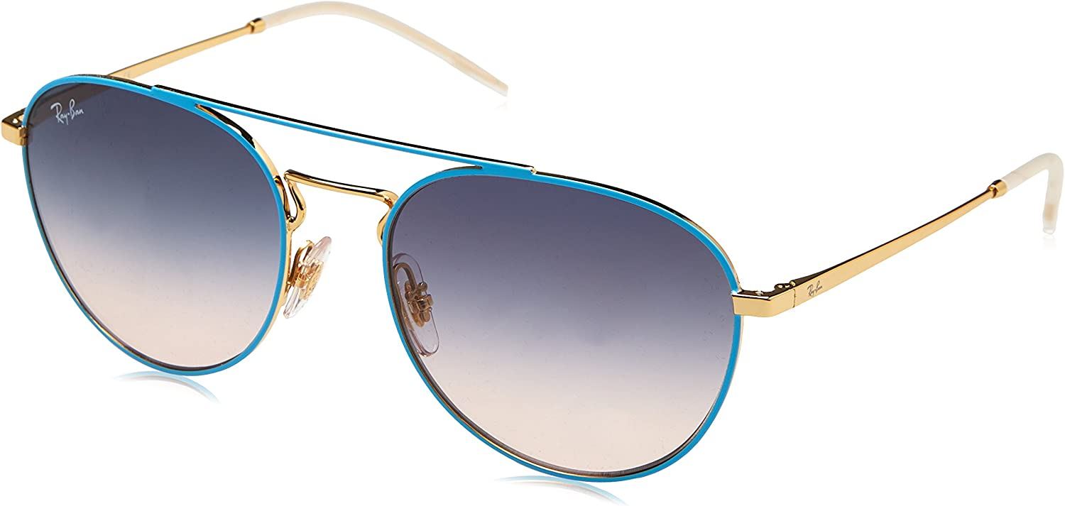 Ray-Ban 0RB3589, Gafas de Sol para Mujer, Azul (Gold Top on Light Blue), 55
