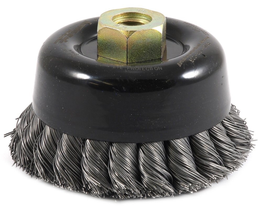 Forney 72868 Wire Cup Brush, Twisted/Knotted Wire, Double Row, Industrial Pro 4'' x .020'' Wire with 5/8''-11 Arbor