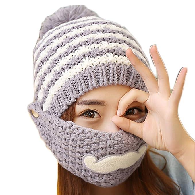 Damen Strickmütze Warme Kappen Slouch Wollmütze Gesichtmaske Fleece ...
