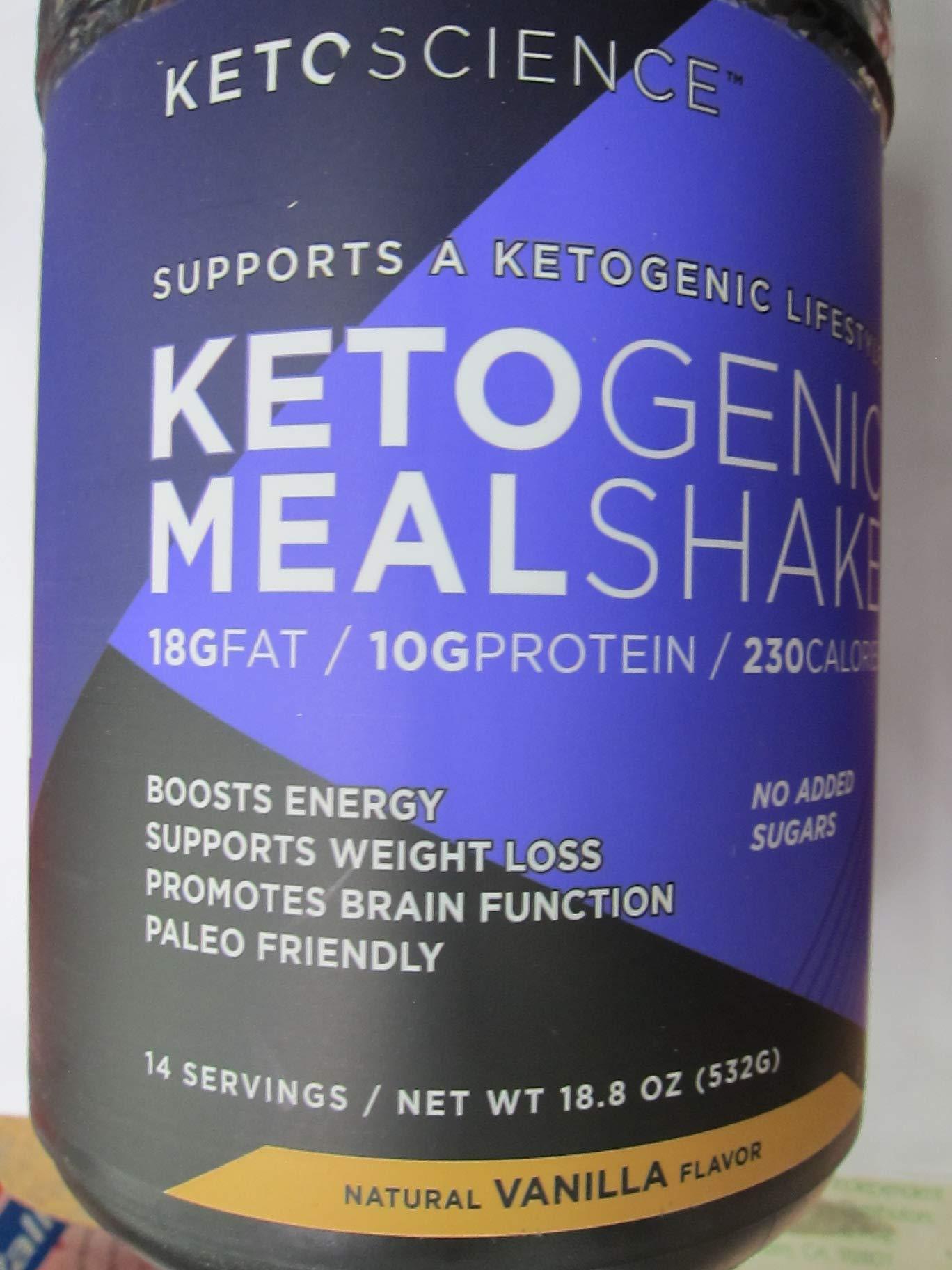Keto Science Ketogenic Meal Shake, Vanilla, 18.8 oz (Pack of 2)