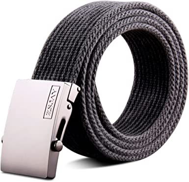 JIEJING Mens Canvas Belt,Smooth Buckles Leisure Wild Belt Youth Student Belt