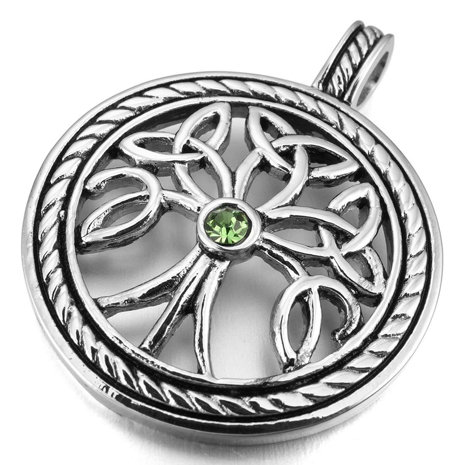 INBLUE Men's Stainless Steel Pendant Necklace CZ Silver Tone Tree of Life Irish Celtic Knot Triquetra -With 23 Inch Chain