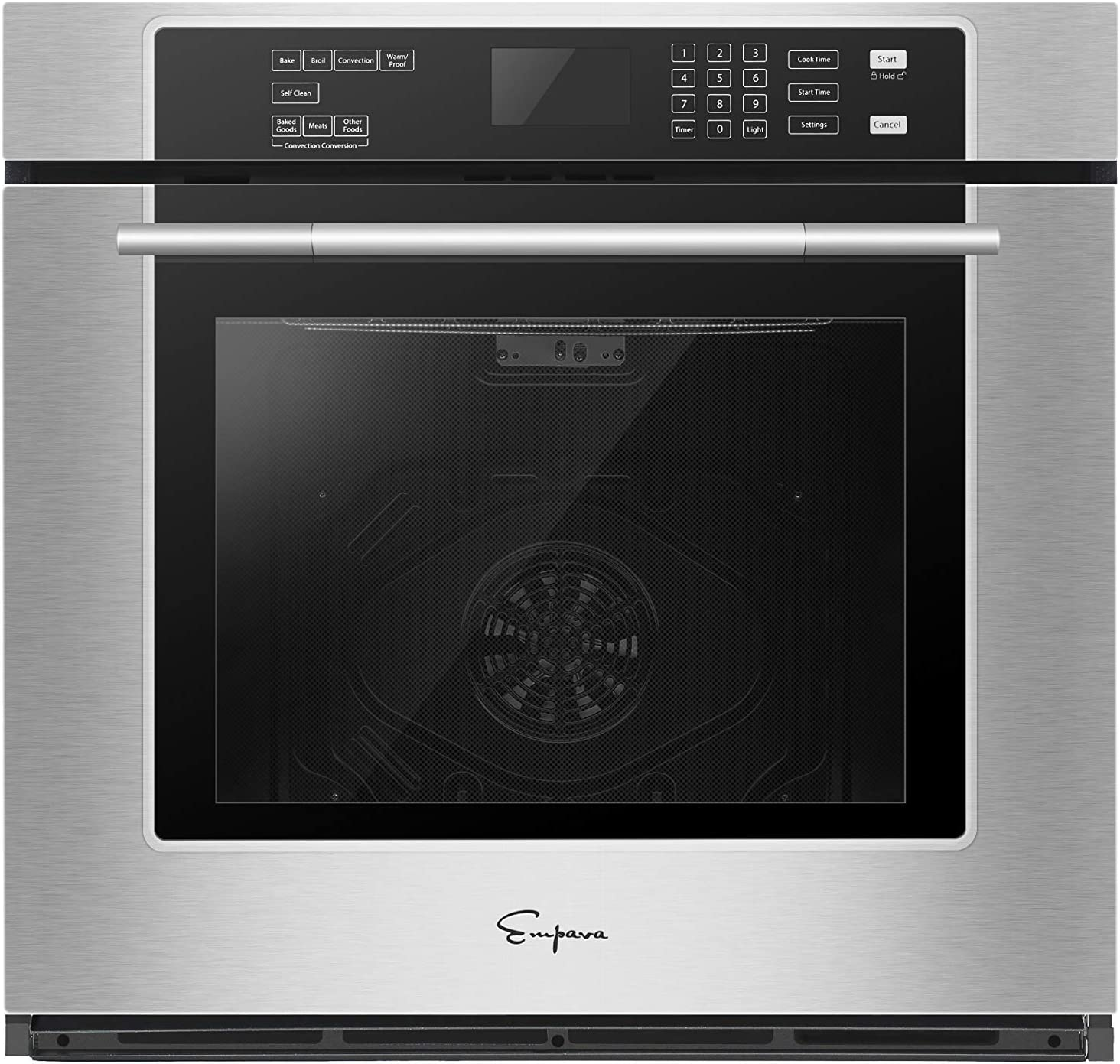 "Empava 30"" Electric Single Wall Oven Self-cleaning Convection Fan Touch Control in Stainless Steel, 30 Inch, Black"