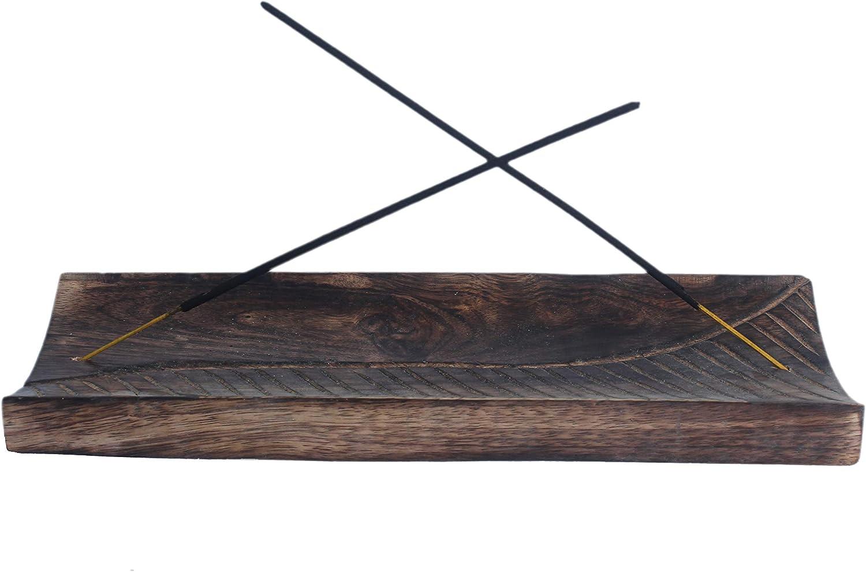 Kaizen Casa - Plato para quemador de incienso, madera con soporte para ceniceros, accesorio para decoración del hogar y regalo de inauguración de la casa