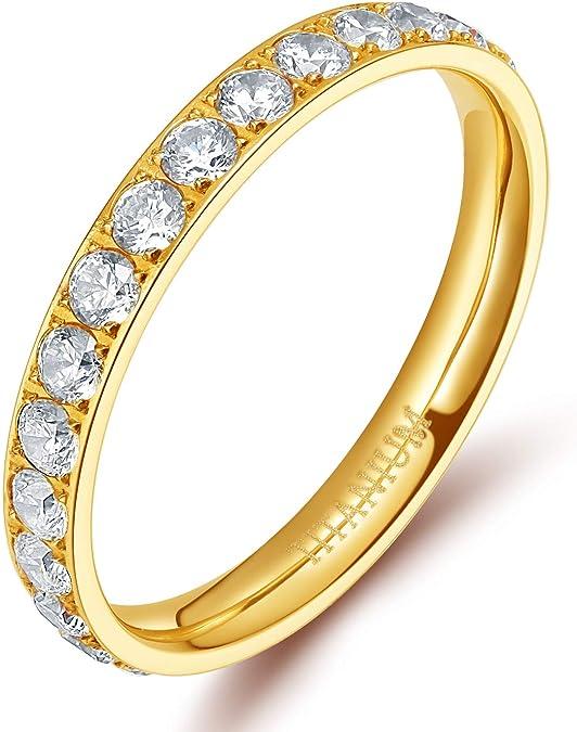 TIGRADE 3mm Women Titanium Engagement Ring Cubic Zirconia Eternity Wedding Band Size 3 to 13.5, Gold, Size 4.5