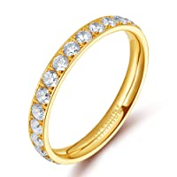 Tigrade 3mm Womens Titanium Eternity Rings Cubic Zirconia Wedding Engagement Band