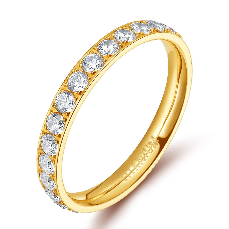 TIGRADE 3mm Women Titanium Engagement Ring Cubic Zirconia Eternity Wedding...