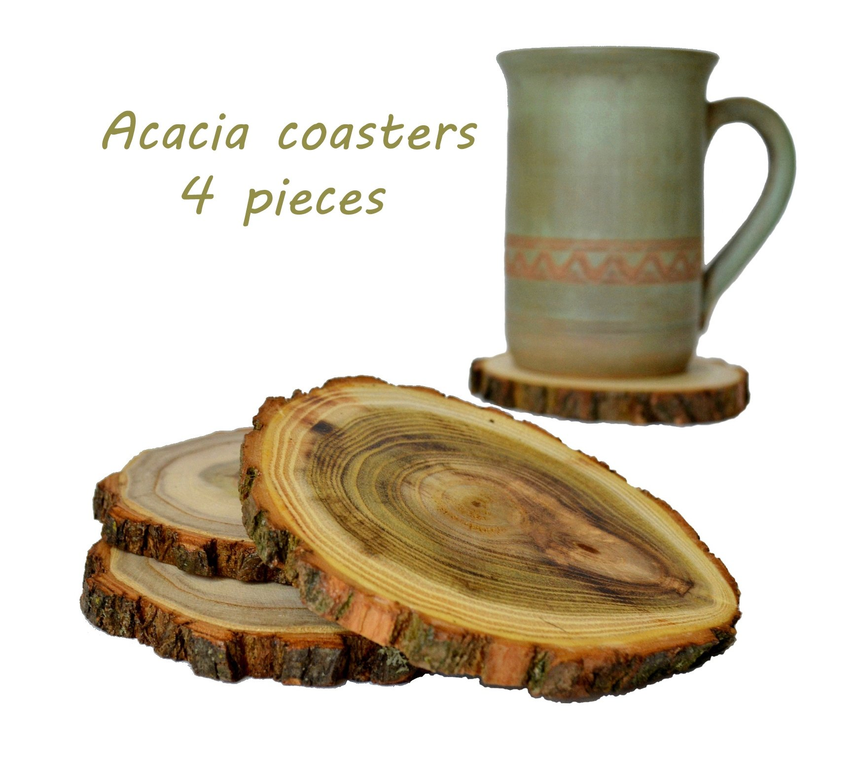 Handmade Wood Acacia Coaster Set of 4 Rustic Natural Stand for Tea Coffee Latte Cup