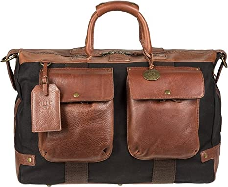 Will Leather Goods Men's Traveler Duffel Bag - Brown/Black: Amazon.co.uk:  Clothing