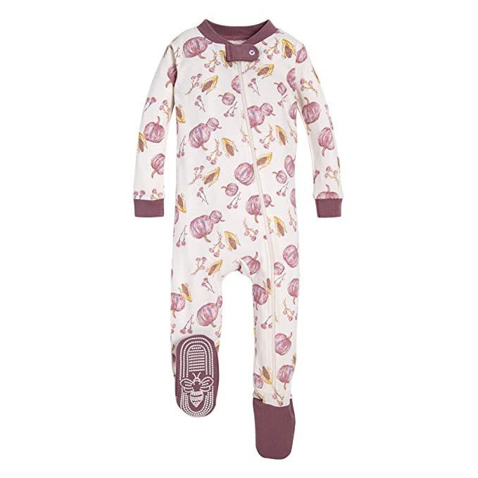 Burt's Bees Baby Baby Girls Pajamas, Zip Front Non-Slip Footed Sleeper PJs, Autumn Harvest, 24 Months best infant pajamas